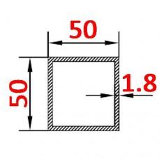 Труба алюминиевая 50х50х1.8 б.п. квадратная
