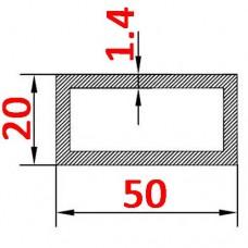 Труба алюминиевая 50х20х1.4 б.п. прямоугольная