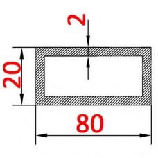 Труба алюминиевая 80х20х2 б.п. прямоугольная