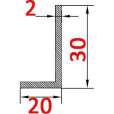 Уголок алюминиевый 30х20х2 б.п.