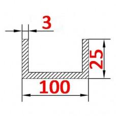 Швеллер алюминиевый 100х25х3 б.п.