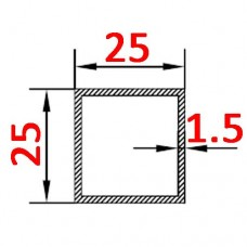Труба алюминиевая 25х25х1.5 AS квадратная