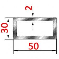 Труба алюминиевая 50х30х2 б.п. прямоугольная