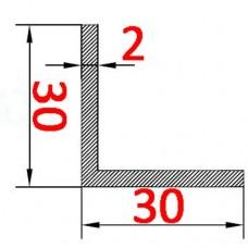 Уголок алюминиевый 30х30х2 б.п.