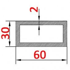 Труба алюминиевая 60х30х2 б.п. прямоугольная