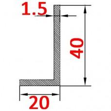 Уголок алюминиевый 40х20х1.5 б.п.