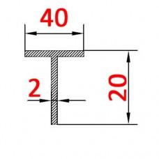 Тавр алюминиевый 40х20х2 б.п.