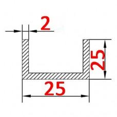 Швеллер алюминиевый 25х25х2 AS