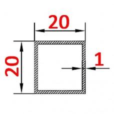 Труба алюминиевая 20х20х1 AS квадратная