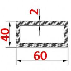 Труба алюминиевая 60х40х2 б.п. прямоугольная
