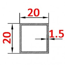 Труба алюминиевая 20х20х1.5 б.п. квадратная
