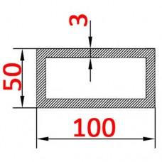 Труба алюминиевая 100х50х3 б.п. прямоугольная