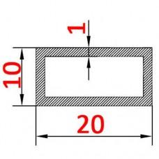 Труба алюминиевая 20х10х1 AS прямоугольная