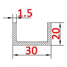 Швеллер алюминиевый 30х20х1,5 AS