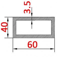 Труба алюминиевая 60х40х3.5 б.п. прямоугольная