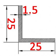 Уголок алюминиевый 25х25х1.5 б.п.