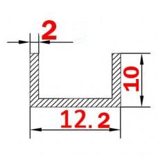 Швеллер алюминиевый 12.2х10х2 б.п.