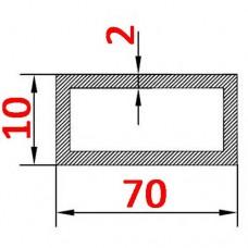 Труба алюминиевая 70х10х2 б.п. прямоугольная