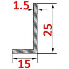 Уголок алюминиевый 25х15х1.5 б.п.