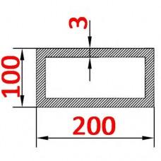 Труба алюминиевая 200х100х3 б.п. прямоугольная