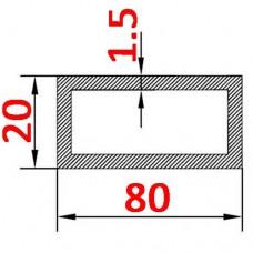 Труба алюминиевая 80х20х1.5 б.п. прямоугольная
